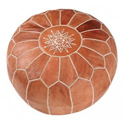 Moroccan brown leather poufs